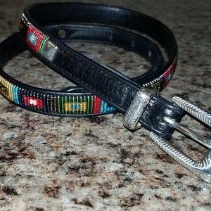Brighton beaded black leather belt